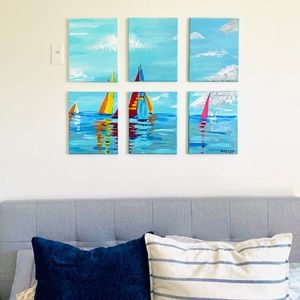 Original sailboat abstract six piece painting